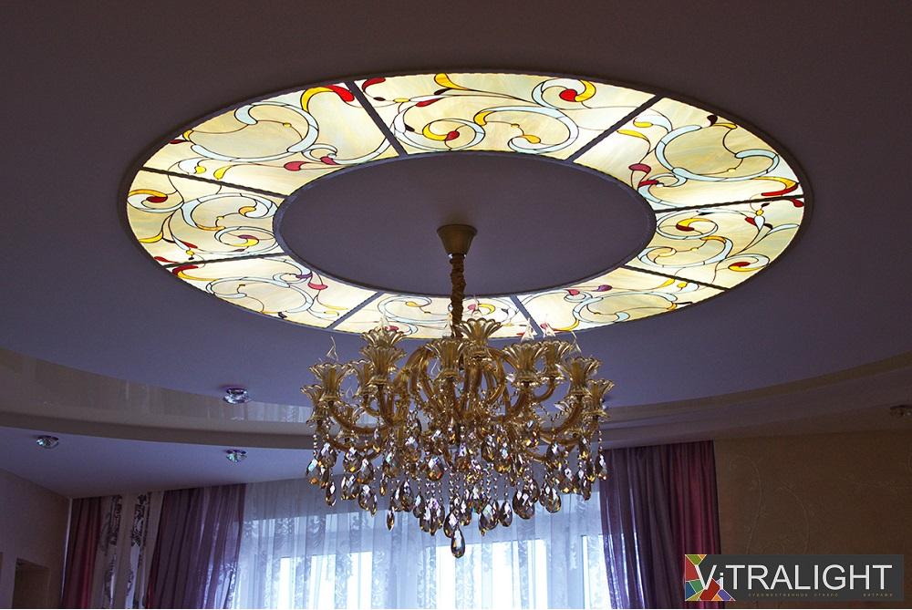 Витражный потолок с подсветкой своими руками 97